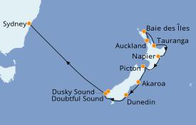 Itinéraire de la croisière Australie 2020 11 jours à bord du Norwegian Jewel