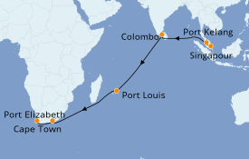Itinéraire de la croisière Afrique 20 jours à bord du Queen Victoria