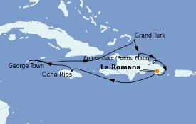 Itinéraire de la croisière Caraïbes de l'Est 11 jours à bord du Costa Pacifica