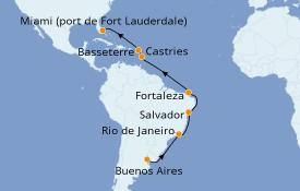 Itinéraire de la croisière Amérique du Sud 18 jours à bord du Coral Princess