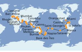 Itinéraire de la croisière Tour du Monde 2021 118 jours à bord du Seven Seas Mariner