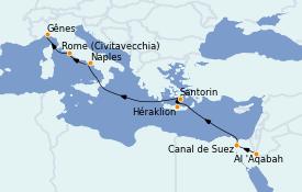 Itinéraire de la croisière Transatlantiques et Grands Voyages 2022 14 jours à bord du MSC Magnifica