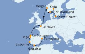 Itinéraire de la croisière Méditerranée 14 jours à bord du Jewel of the Seas