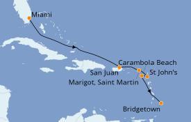 Itinéraire de la croisière Caraïbes de l'Est 9 jours à bord du Seabourn Odyssey
