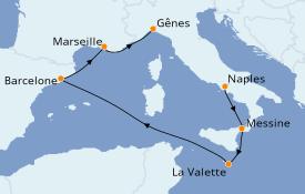 Itinéraire de la croisière Méditerranée 7 jours à bord du MSC Grandiosa