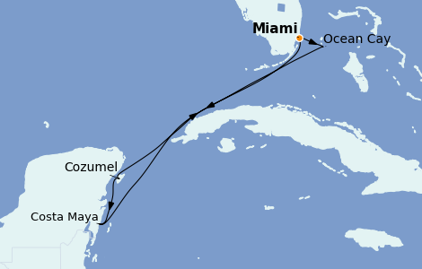 Itinéraire de la croisière Caraïbes de l'Ouest 7 jours à bord du MSC Meraviglia