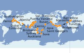 Itinéraire de la croisière Tour du Monde 2021 127 jours à bord du MSC Poesia