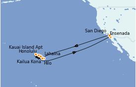 Itinéraire de la croisière Hawaii 19 jours à bord du ms Zuiderdam