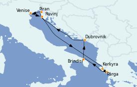 Itinéraire de la croisière Grèce & Adriatique 11 jours à bord du Seabourn Quest