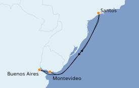 Itinéraire de la croisière Amérique du Sud 9 jours à bord du Costa Fascinosa