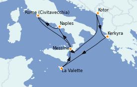 Itinéraire de la croisière Méditerranée 8 jours à bord du Enchanted Princess