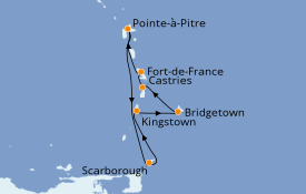 Itinéraire de la croisière Caraïbes de l'Est 8 jours à bord du Costa Favolosa