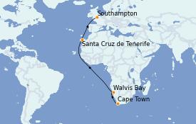 Itinéraire de la croisière Afrique 17 jours à bord du Queen Mary 2