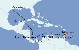 Itinéraire de la croisière Caraïbes de l'Est 11 jours à bord du Grandeur of the Seas