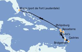 Itinéraire de la croisière Caraïbes de l'Est 11 jours à bord du Celebrity Silhouette