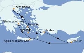 Itinéraire de la croisière Grèce & Adriatique 8 jours à bord du Celestyal Olympia