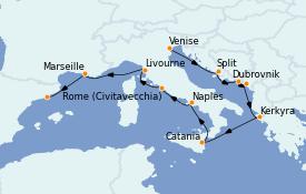 Itinéraire de la croisière Méditerranée 11 jours à bord du Norwegian Star