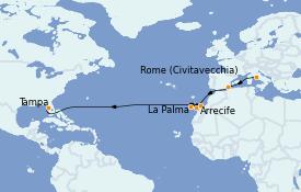 Itinéraire de la croisière Transatlantiques et Grands Voyages 2022 16 jours à bord du Brilliance of the Seas