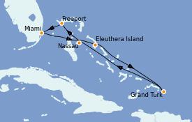 Itinéraire de la croisière Bahamas 7 jours à bord du Carnival Freedom