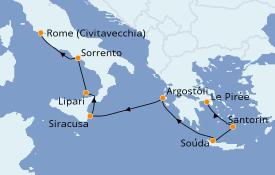 Itinéraire de la croisière Méditerranée 8 jours à bord du Silver Moon