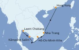Itinéraire de la croisière Asie 9 jours à bord du Seven Seas Explorer