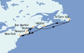 Itinéraire de la croisière Canada 8 jours à bord du Caribbean Princess