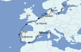 Itinéraire de la croisière Transatlantiques et Grands Voyages 2022 12 jours à bord du Costa Favolosa