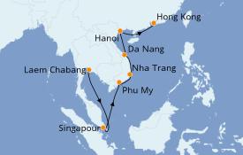 Itinéraire de la croisière Transatlantiques et Grands Voyages 2022 12 jours à bord du Norwegian Sun