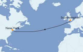 Itinéraire de la croisière Transatlantiques et Grands Voyages 2019 10 jours à bord du Norwegian Encore