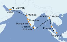 Itinéraire de la croisière Inde 21 jours à bord du Seven Seas Voyager