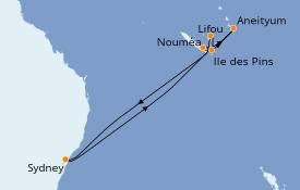 Itinéraire de la croisière Australie 2020 10 jours à bord du Celebrity Solstice