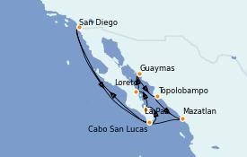 Itinéraire de la croisière Riviera Mexicaine 12 jours à bord du ms Oosterdam