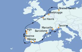 Itinéraire de la croisière Méditerranée 14 jours à bord du Costa Fortuna