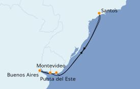 Itinéraire de la croisière Amérique du Sud 8 jours à bord du MSC Fantasia