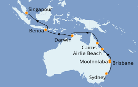 Itinéraire de la croisière Australie 2020 19 jours à bord du Azamara Journey