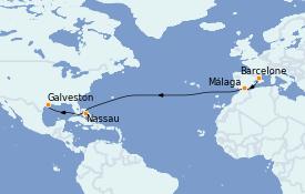 Itinéraire de la croisière Transatlantiques et Grands Voyages 2022 15 jours à bord du Allure of the Seas