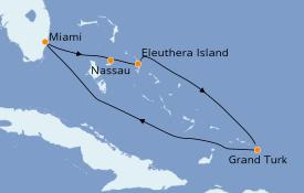 Itinéraire de la croisière Bahamas 6 jours à bord du Carnival Sunrise