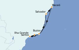 Itinéraire de la croisière Amérique du Sud 8 jours à bord du MSC Seaside