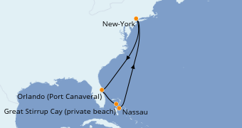 Itinéraire de la croisière Bahamas 8 jours à bord du Norwegian Bliss