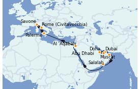 Itinéraire de la croisière Dubaï - Emirats 20 jours à bord du Costa Pacifica