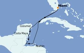 Itinéraire de la croisière Caraïbes de l'Ouest 8 jours à bord du