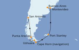 Itinéraire de la croisière Amérique du Sud 17 jours à bord du Diamond Princess
