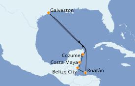 Itinéraire de la croisière Caraïbes de l'Ouest 9 jours à bord du Carnival Vista