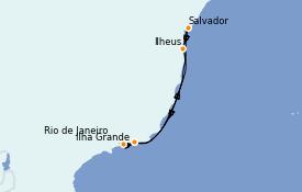 Itinéraire de la croisière Amérique du Sud 8 jours à bord du MSC Preziosa