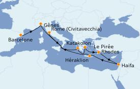 Itinéraire de la croisière Grèce & Adriatique 12 jours à bord du MSC Poesia