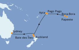 Itinéraire de la croisière Australie 2022 15 jours à bord du Pacific Princess