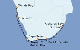 Itinéraire de la croisière Afrique 13 jours à bord du Norwegian Jade