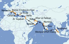Itinéraire de la croisière Transatlantiques et Grands Voyages 2021 36 jours à bord du Costa Firenze