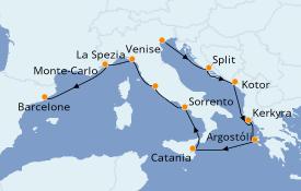 Itinéraire de la croisière Méditerranée 11 jours à bord du Norwegian Spirit