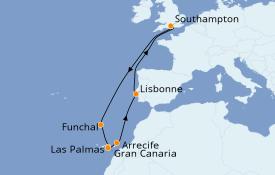 Itinéraire de la croisière Îles Canaries 13 jours à bord du Queen Victoria